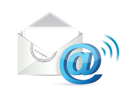 wifi email illustration design over a white background
