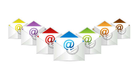 mail box: set of envelopes with email symbol illustration design