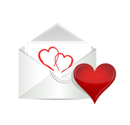 Open envelope with valentine heart illustration design over white illustration