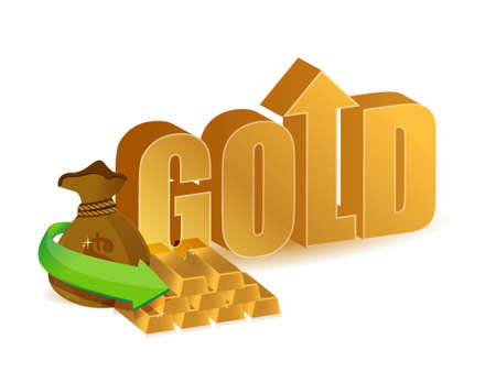 gold prices increasing illustration design over a white background illustration