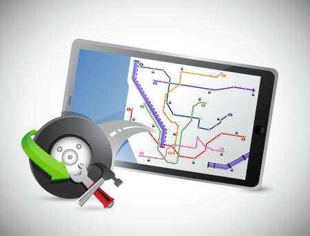 car wheel and gps tablet illustration design over a white background illustration