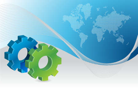 industrial gear business illustration graphic design with a map illustration