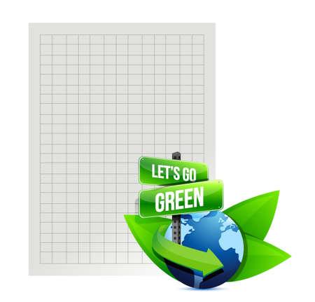 lets go green. recycle paper illustration design over white illustration