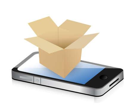 packer: Paper Box on phone for Transportation Concept. Illustration design over white