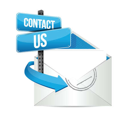contact us email sign illustration design over white Vector