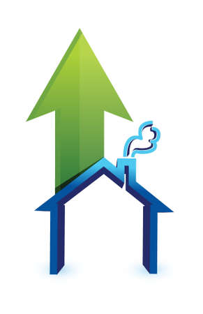 housing problems: Arrow with house. rising prices in housing market concept illustration design