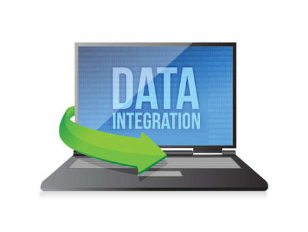 data backup: laptop with word Data Integration on display illustration design over a white background Illustration