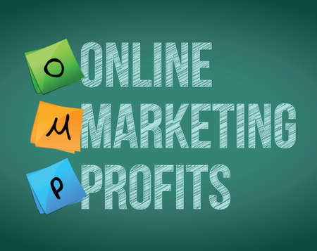 online marketing profits and posts on a blackboard Stock Vector - 19706274
