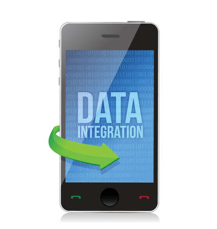 smartphone with word Data Integration on display illustration design over a white background Vector