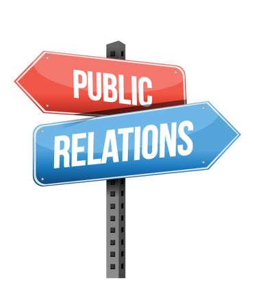 relaciones publicas: Concepto de marketing: R. Públicas señal de tráfico ilustración, diseño,