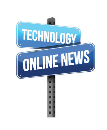 technology online news road sign illustration design over a white background Иллюстрация