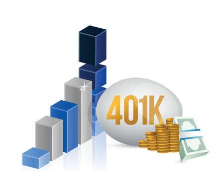 401k egg and cash money graph illustration design over a white background