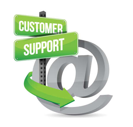 customer support at sign illustration design over white Illustration