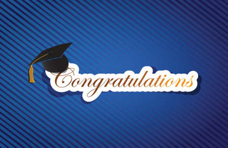 congratulation: education congratulations sign background on a blue lines pattern Illustration