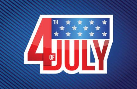 fourth of july sign on a blue lines background Vector