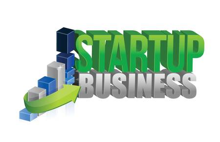profit and loss: startup business graph sign illustration design over white