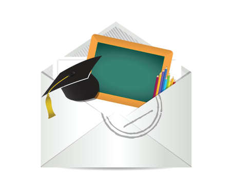 writing letter: education grades review letter illustration design over white