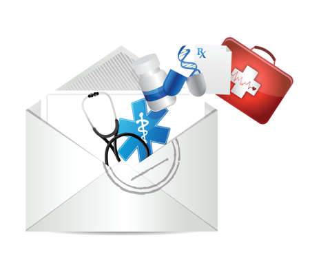 doctors prescription letter illustration design over a white background Vector