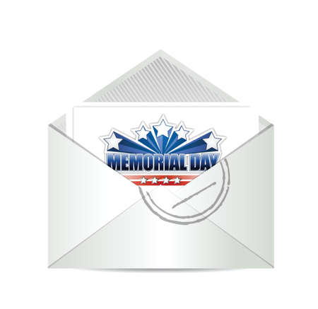 memorial day cart mail illustration design over a white background