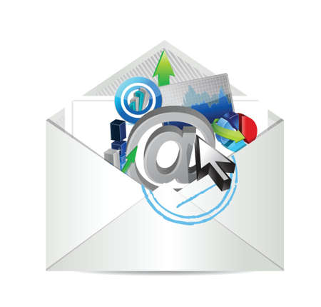 air mail: business review report email illustration design over white