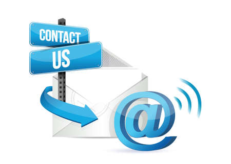 contact us online email sign over a white background Vector