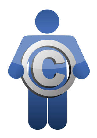 Guy Holding Copyright sign illustration design over a white background