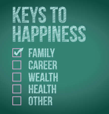keys to happiness check box selection illustration Illusztráció