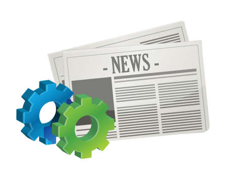 article icon: industrial gear newspaper concept illustration design over white