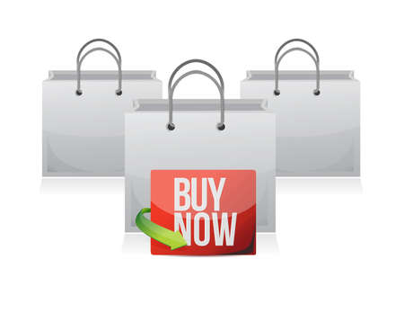 buy now sign on a shopping bag. illustration design over white