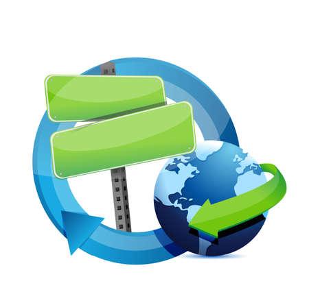 road sign cycle globe illustration design over a white background Illustration
