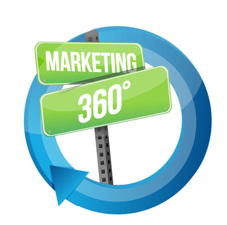 success concept: road sign marketing 360 cycle illustration design over a white background