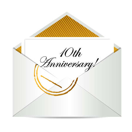 10th: Happy 10th Anniversary gold mail letter illustration design over white