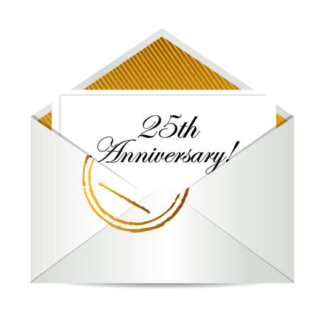 post scripts: Happy 25th Anniversary gold mail letter illustration design over white Illustration