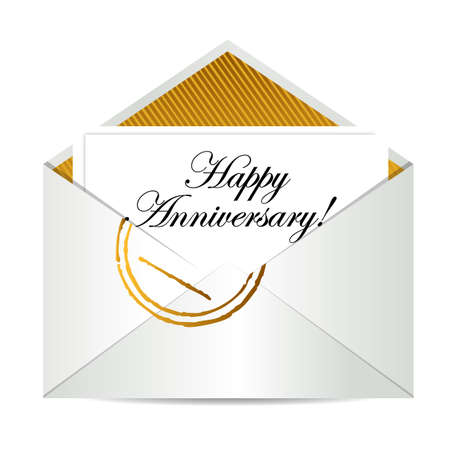 post scripts: Happy Anniversary gold mail letter illustration design over white