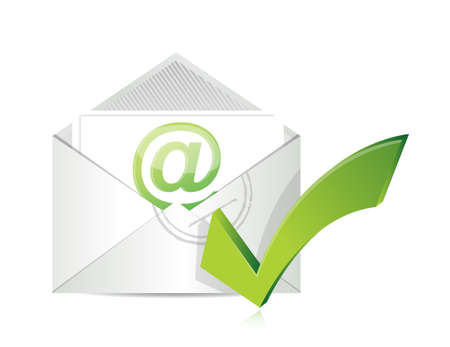 postcard: Open envelope with a check mark symbol illustration design over white