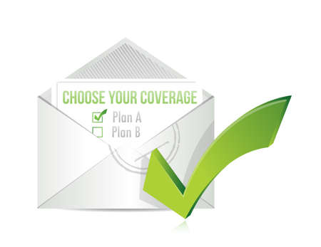 choose your coverage by mail. illustration design over white Vector