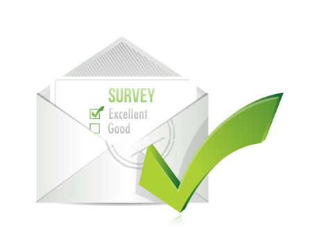 checkbox: survey by mail. checkbox letter illustration design over white Illustration