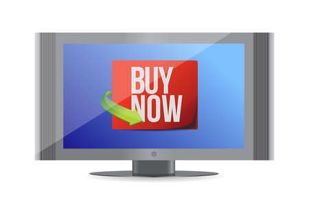 buy now sign on a monitor. illustration design over white