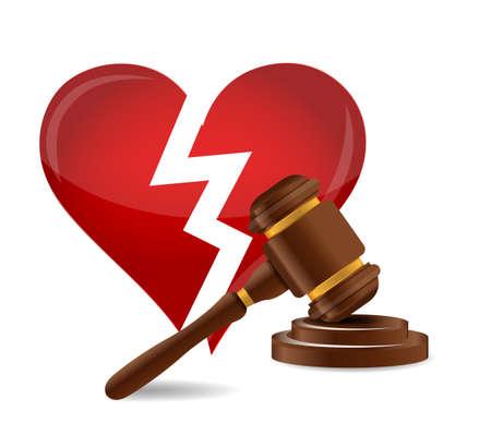 judicial system: Mazo divorcio concepto de dise�o ilustraci�n sobre un fondo blanco