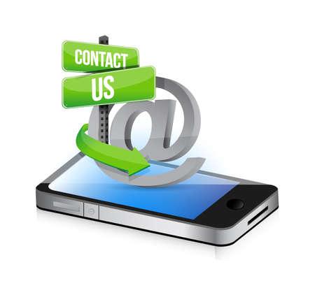 cel: E mail contact us at sign illustration design over smartphone Illustration