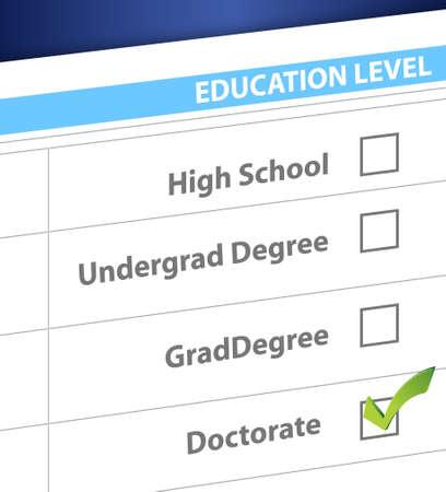 doctorate: doctorate education level survey illustration design graphic Illustration