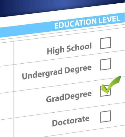 grad degree education level survey illustration design