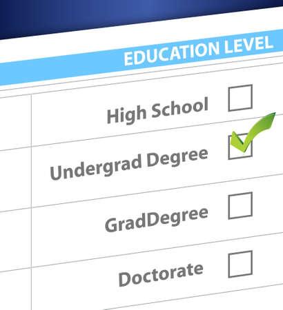 undergrad degree education level survey illustration design Stock Vector - 19706233