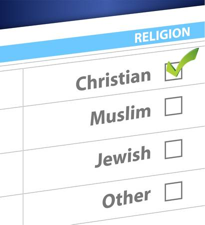 pick your religion blue survey illustration design
