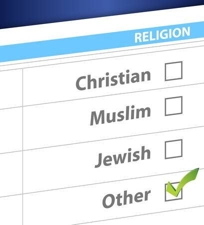 pick your religion blue survey illustration design Stock Vector - 19706223