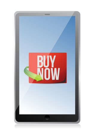 buy now sign on a tablet. illustration design over white Stock Vector - 19706173