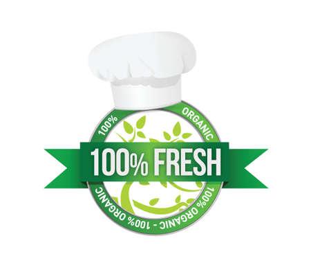 fresh organic food sign illustration design over white Stock Vector - 19802502