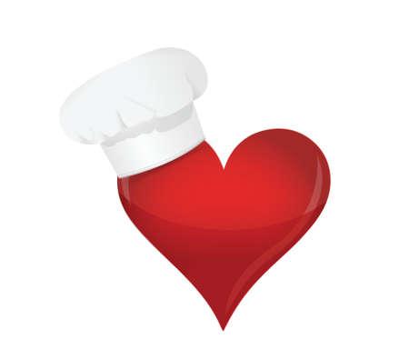 piatto cibo: concetto amante del cibo. Cuore e cappello da chef. design illustrazione su bianco. Vettoriali