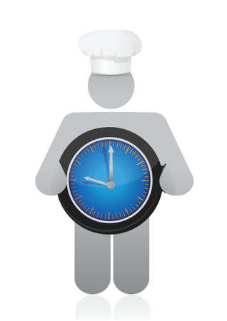 caterer: chef holding a clock. Cooking time concept illustration design over white Illustration