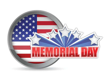 labor strong: Memorial day red white and blue seal illustration design graphic background Illustration